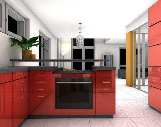cucina laccata con anta laccato lucido rosso